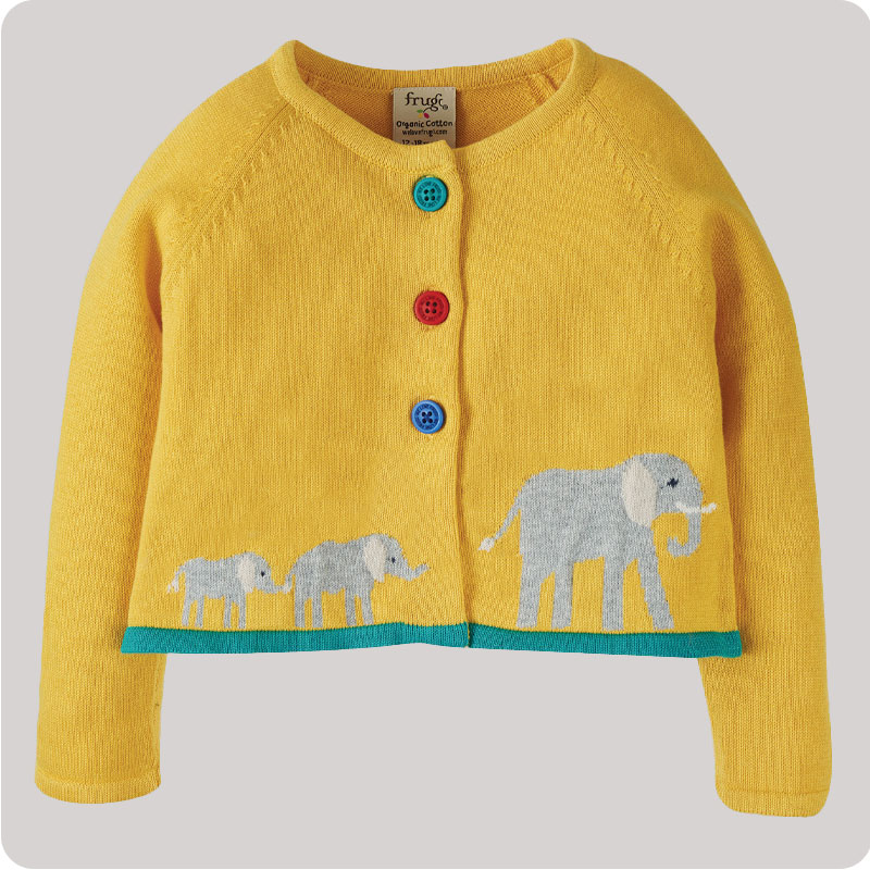 Frugi Little Annie Cardigan - Bumble Bee Elephant