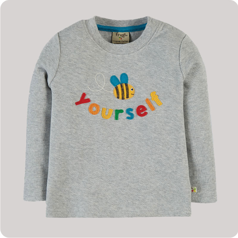Frugi Chatter Applique Top - Grey Bee