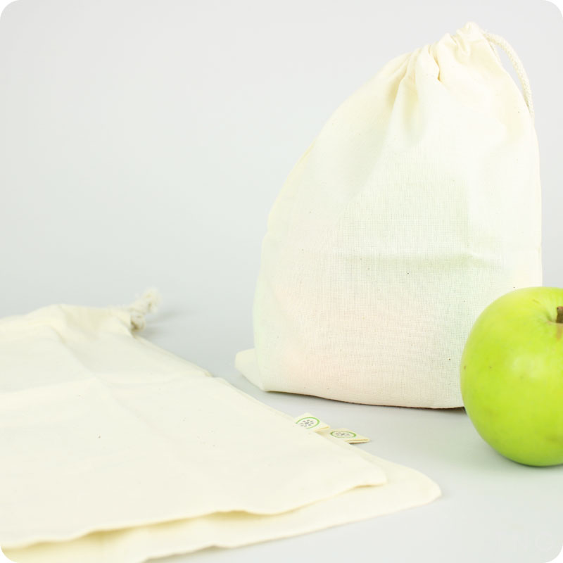 SLICE OF GREEN - ORGANIC COTTON PRODUCE BAGS - VARIETY PACK OF 3