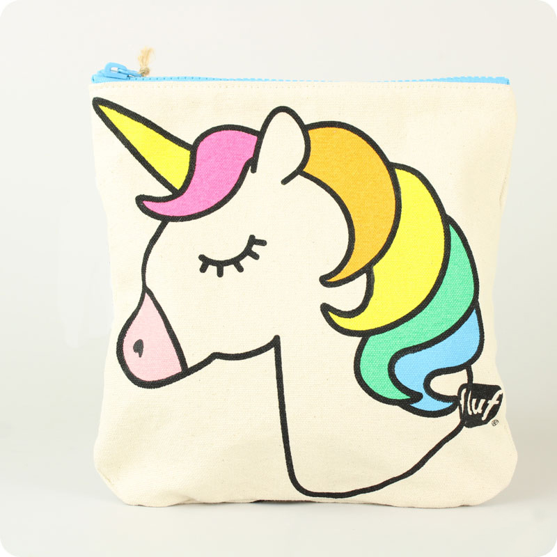 FLUF ZIPPED POUCH  - ORGANIC COTTON - UNICORN