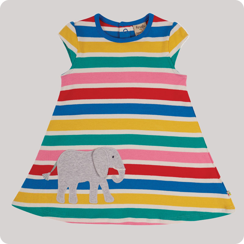 Frugi Gianna Dress - Rainbow Multistripe
