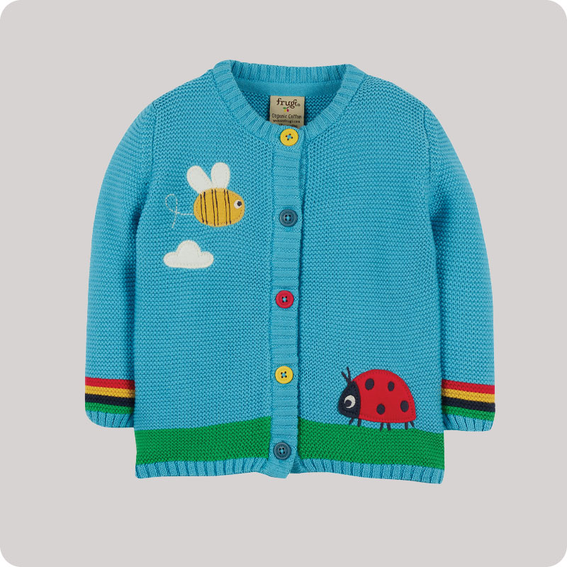 Frugi Cuddly Knitted Cardigan - Blue Bee