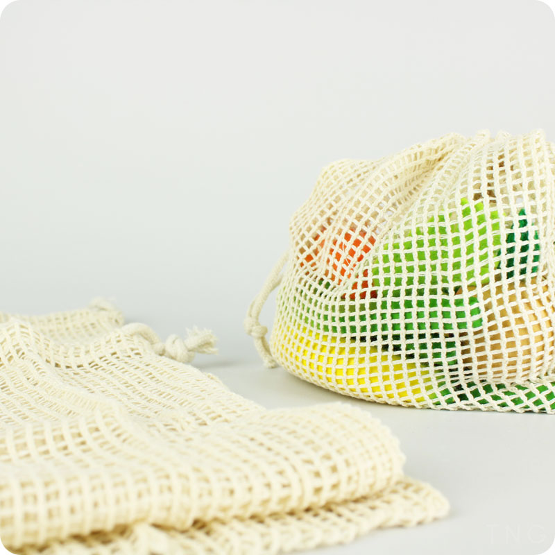 SLICE OF GREEN - ORGANIC COTTON MESH PRODUCE BAGS - VARIETY PACK OF 3