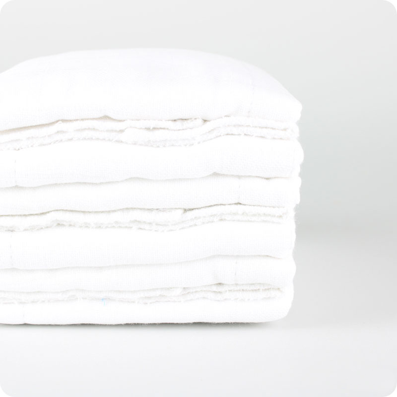 MUSLINZ 100% COTTON WHITE PREFOLDS - 6 PACK