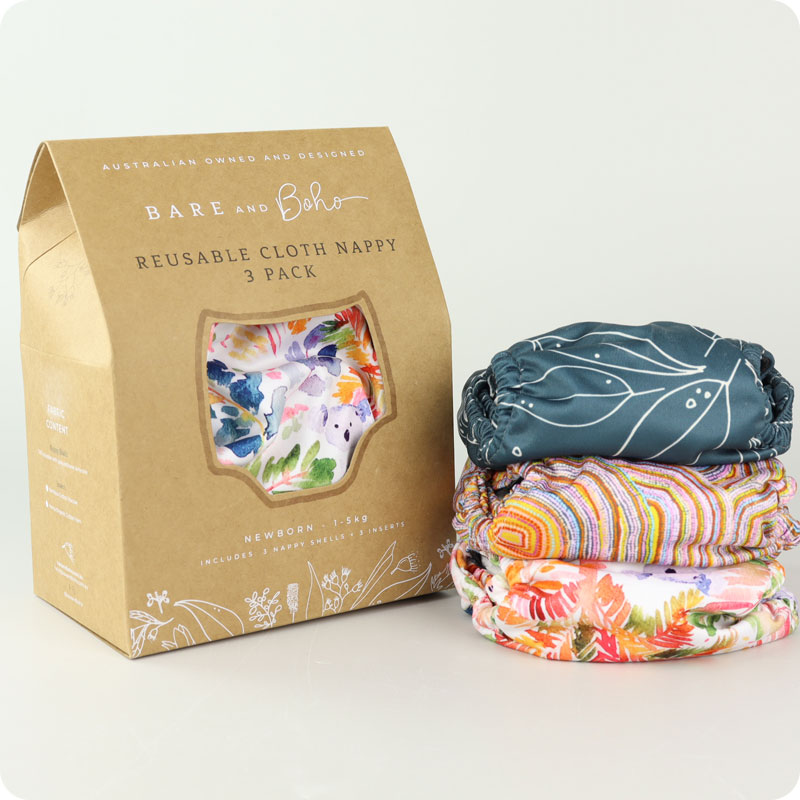 Bare & Boho Mini Newborn Nappy - 3 Pack