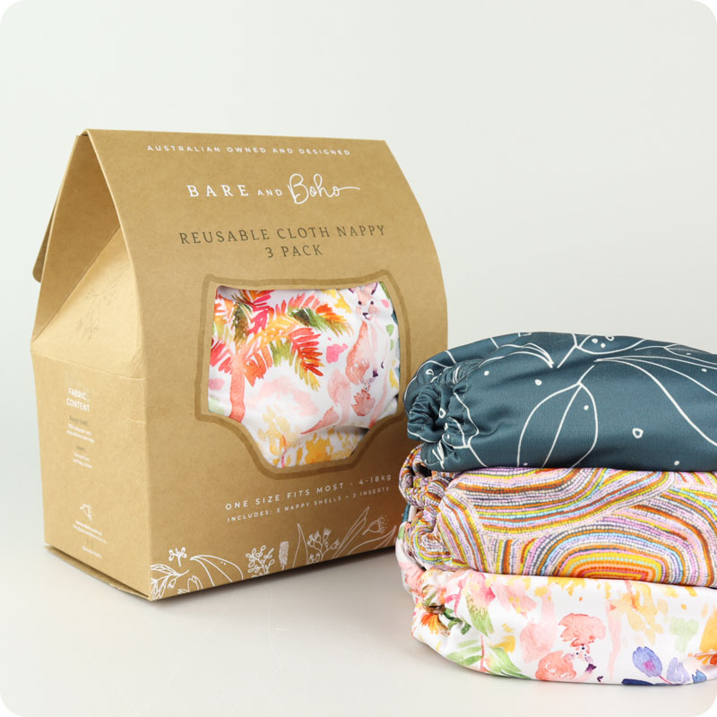 BARE & BOHO ONE SIZE NAPPY - 3 PACK - AUSTRALIANA