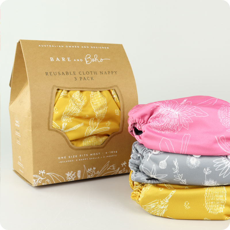 Bare & Boho One Size Nappy - 3 Pack - Native Flora