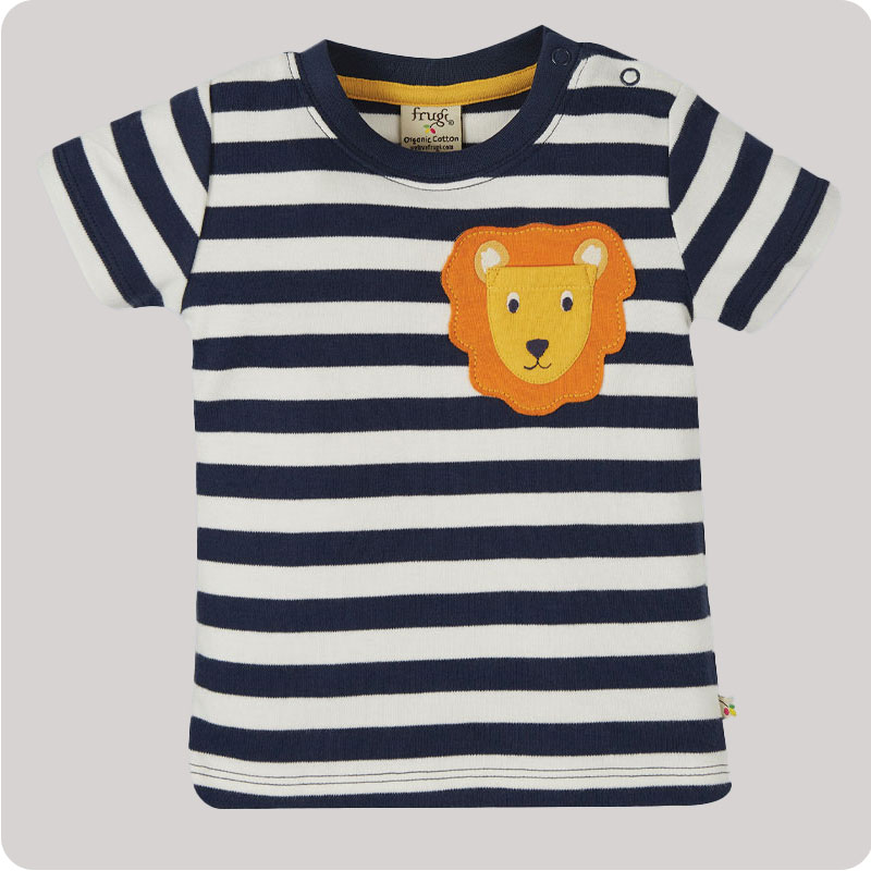 Frugi Polzeath Pocket Top - Indigo Stripe Lion