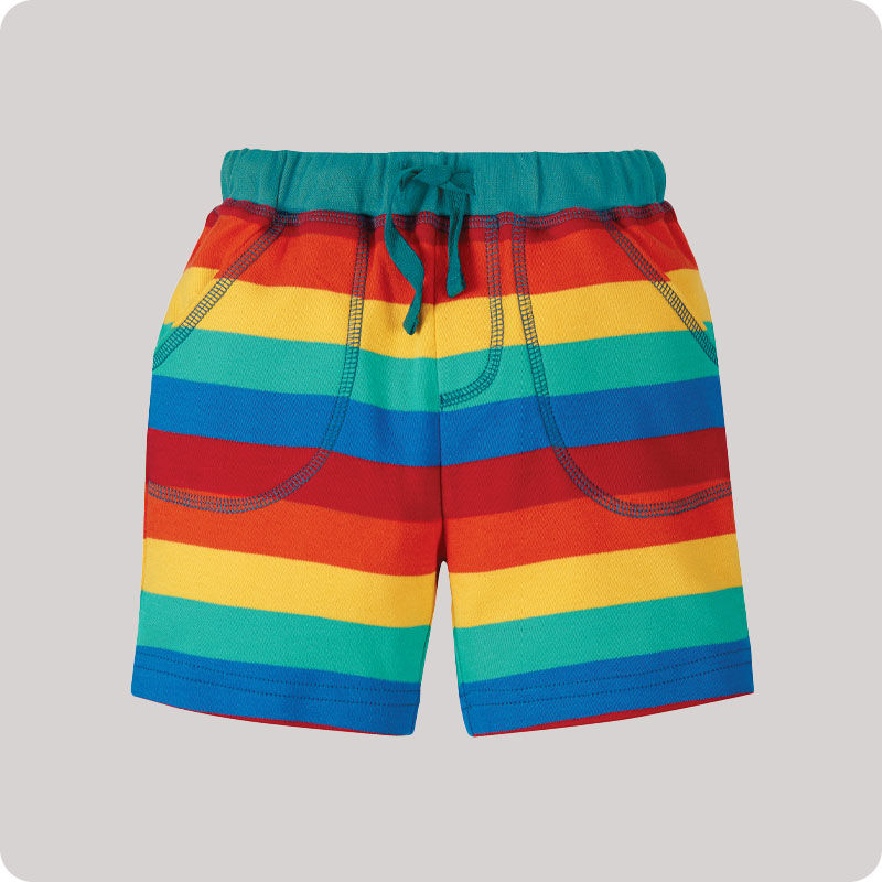 Frugi Little Stripy Shorts - Rainbow Stripe