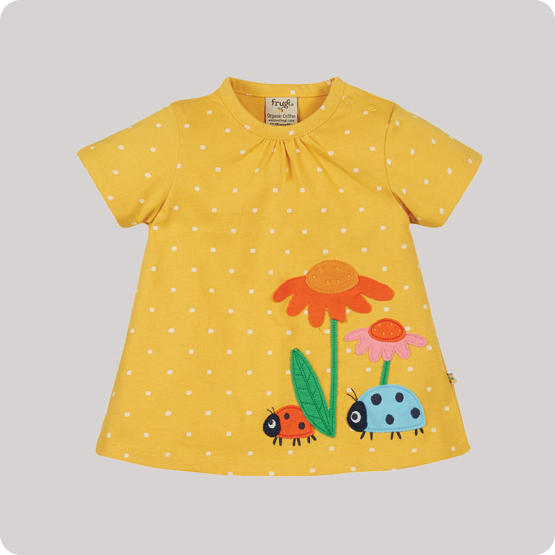 Frugi Eva Applique Top - Bumble Bee Spot