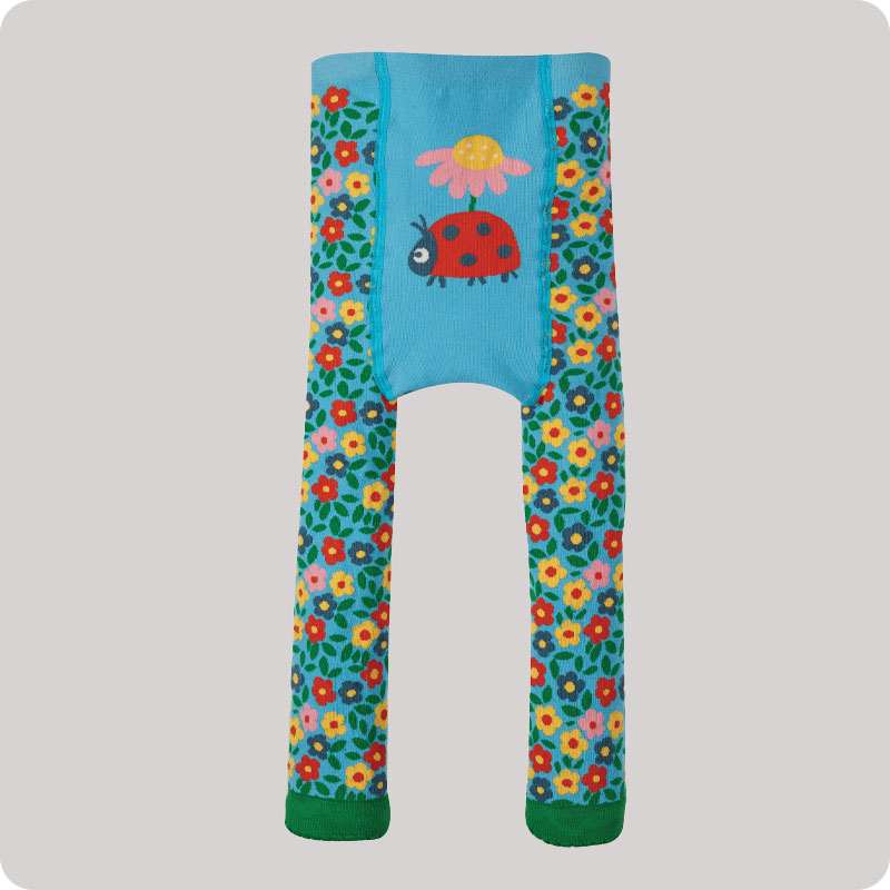 Frugi Little Knitted Leggings - Flowers & Ladybird