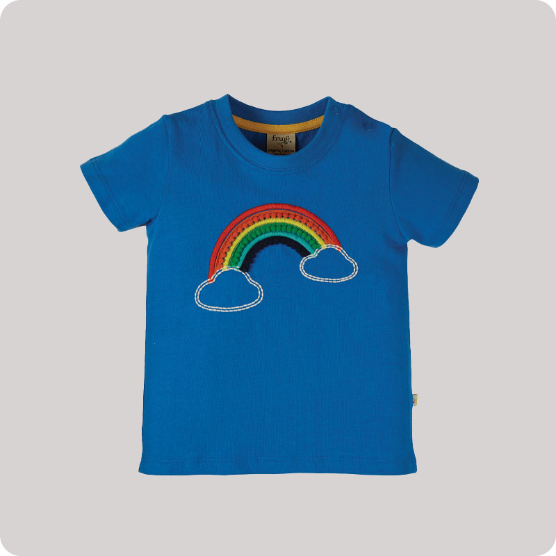 Frugi Avery Applique Top - Cobalt Rainbow