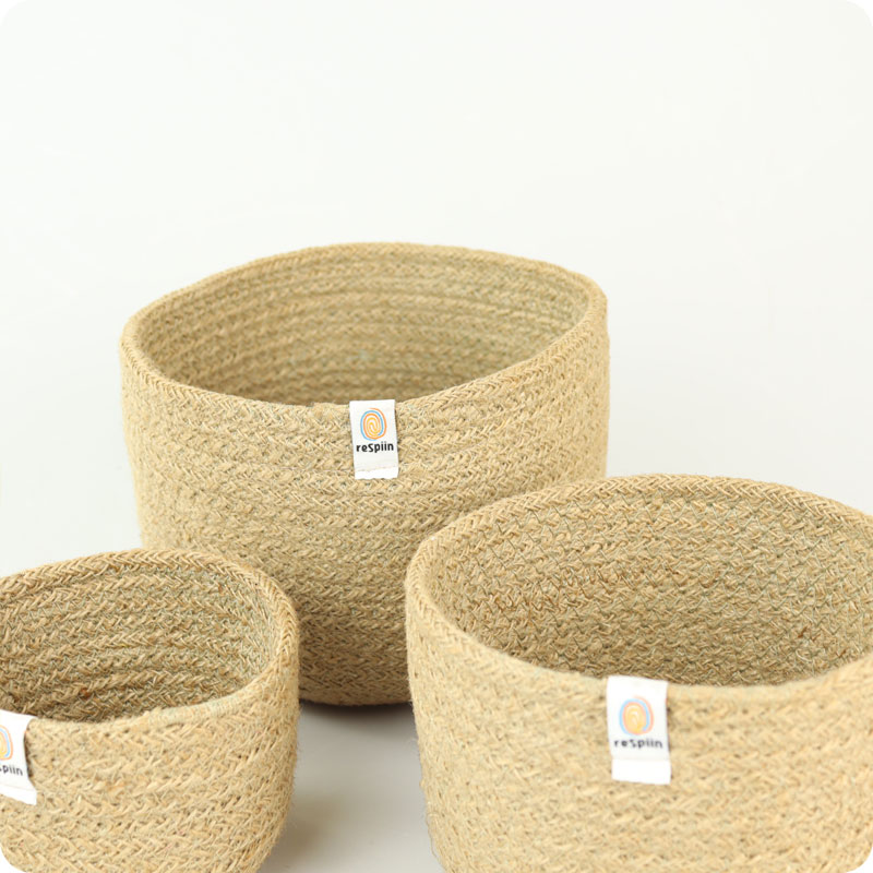 ReSpiin Jute Basket Set - Tall Natural